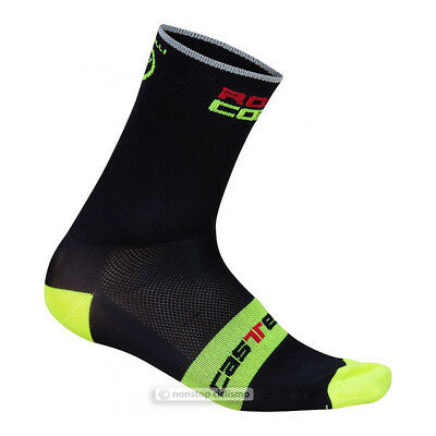 Castelli ROSSO CORSA 13 cm Tall Cuff Cycling Socks BLACK//YELLOW FLUO One Pair