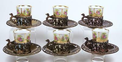 Vintage Demitasse Tea Cup Set of 6 Angel Filigree Metal Holder Figural Handle