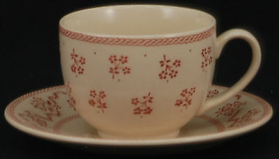 SET of 3 - Johnson Brothers Petite Fleur Burgundy Pink Cup and Saucer