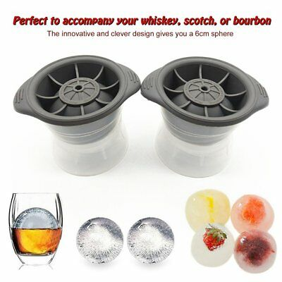 2pcs Sphere Ice Molds Whiskey Cocktail Ice Cube Ball Maker Silicone Molds WZ