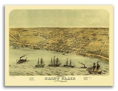 1868 Saint Clair Michigan Vintage Old Panoramic City Map - 20x28