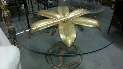 Arthur Court Gilded Lily Dining Table Mid Century Modern Hollywood Regency