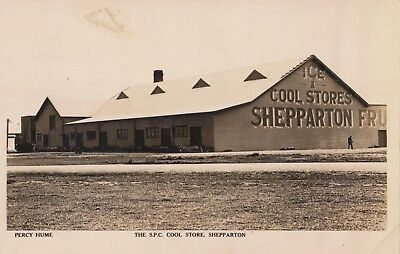 Real photo Rose postcard Shepparton Fruit cool stores Victoria Percy Hume rare