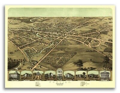 20x24 Bird/'s Eye View 1868 Independence Missouri Vintage Style City Map