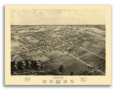 1868 Romeo MI Vintage Old Panoramic City Map - 20x28