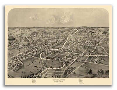 1868 Ypsilanti MI Vintage Old Panoramic City Map - 20x28