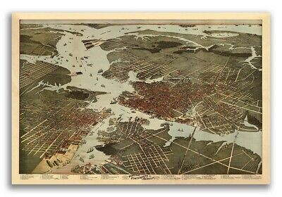 Norfolk Portsmouth Virginia 1891 Historic Panoramic Town Map - 24x36