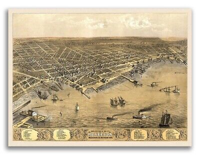 1868 Muskegon Michigan Vintage Old Panoramic City Map - 20x28