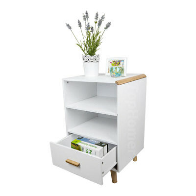 Bedside Table with Drawer Shelves Wooden Cabinet Side Table Nightstand Storage -