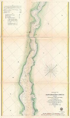 1857 Coastal Survey map Nautical Chart the Rappahannock River Virginia  #1