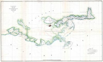 1857 Coastal Survey map Nautical chart Louisiana Mississippi Coastal New Orleans