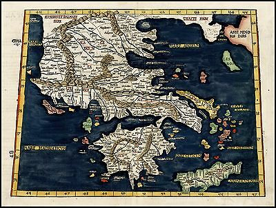 1522 map Ptolomaic Greece Balkans very early map Lorenz Fries POSTER 26107