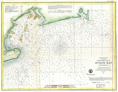 1859 Coastal Survey Map Nautical Chart of Bull's Bay South Carolina