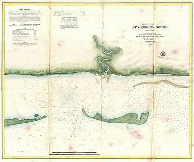 1859 Coastal Survey Map Nautical Chart of St. George Sound Florida Panhandle