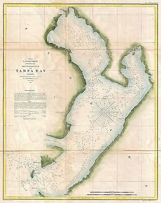 1855 Coastal Survey map Nautical Chart Tampa Bay Florida