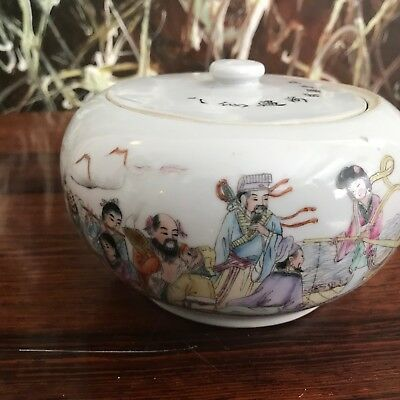 Antique Chinese Hand-Painted Covered Dish - Famille Rose