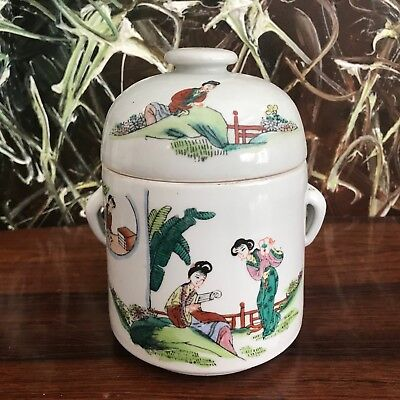 Antique Chinese Hand-Painted Covered Dish - Famille Rose / Vert