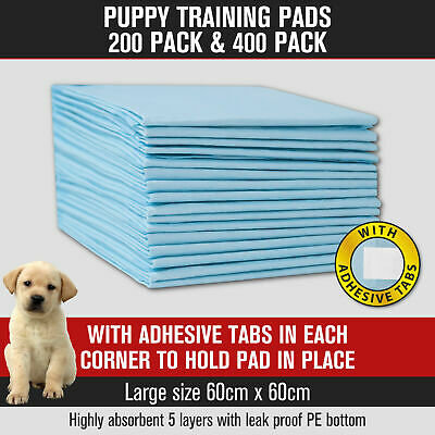 Puppy Pet Dog Cat Training Pads Absorbent Indoor Toilet 200pk/400pk 60 x 60cm