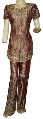 Vintage Tissue Fabric Party Wear Suit Set Dress Women Fashion Beaded Wedding