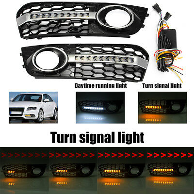 Honeycomb Fog Light Grill Cover Flowing Led Turn Signal DRL For AUDI A4 B8 09-11
