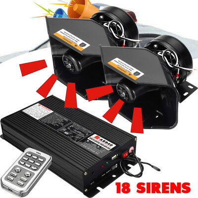 18 Siren Loud Car Warning Alarm Police Fire Siren Horn PA Speaker System 400W
