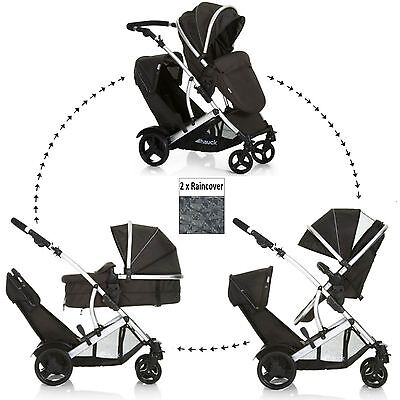 Anew Hauck Duett 2 Double Tandem Twin Pushchair Pram Stroller Buggy+2 Raincovers
