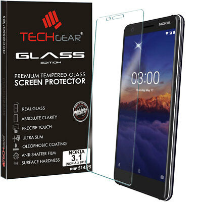 Genuine TECHGEAR TEMPERED GLASS Screen Protector Cover for Nokia 3.1
