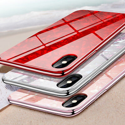 iPhone X 7 8 Plus XSMax XR Case Marble Tempered Glass Slim Shockproof Hard Cover
