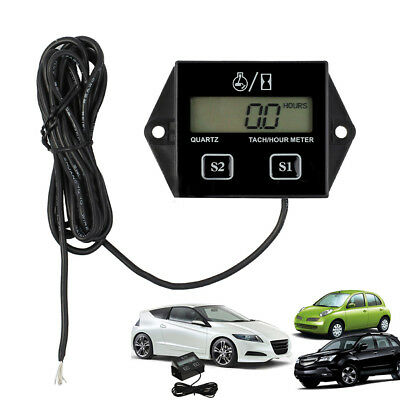 Motorcycle LCD Race Digital RPM Tach Hour Meter Tachometer Gauge Spark Black