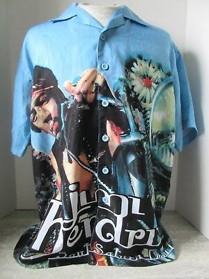 Jimi Hendrix South Saturn Delta Button Up Short sleeve Shirt Conspiracy Size Lg