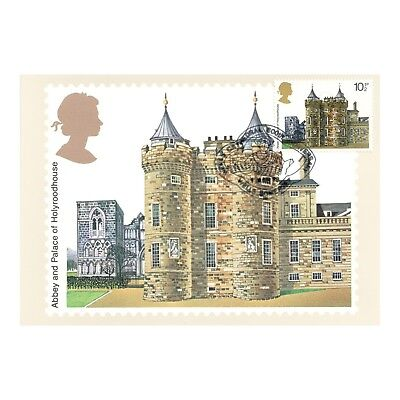 HOLYROOD HOUSE ABBEY and PALACE MATCHING FDI STAMP ARCHITECTURE PHQ 28 POSTCARD