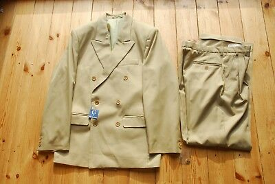 """Vintage Deadstock Double Breasted Beige Two Piece Suit 36-38 30"""""""