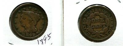 1847 Braided Hair Large Cent Type Coin   Vg 1895L