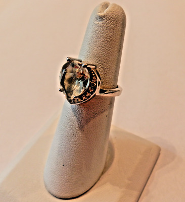 925 STERLING SILVER RING with CLEAR RHINESTONE CABOCHON SIZE 5 3/4