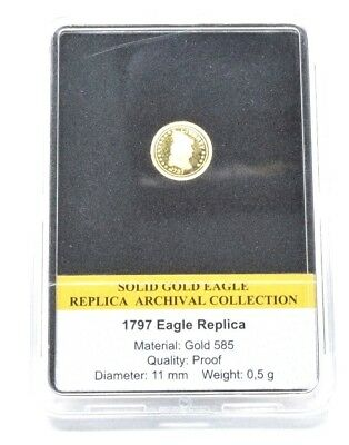 1797 EAGLE TURBAN HEAD Solid Gold Eagle Archival Collection PROOF Coin COA 14CT