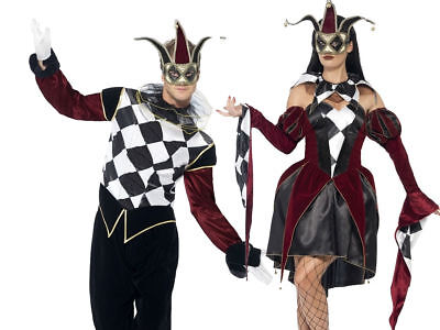 Adults Gothic Venetian Harlequin Outfit Evil Jester Halloween Fancy Dress Mens L