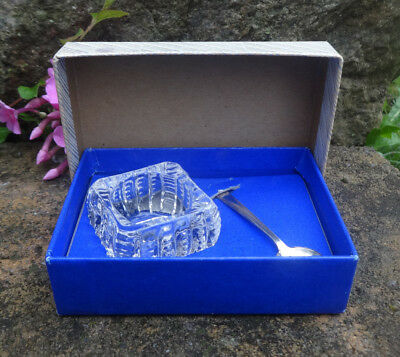 Westmorland Sterling Silver Spoon and Glass Open Salt Dip, Cellar, Dish in Box!