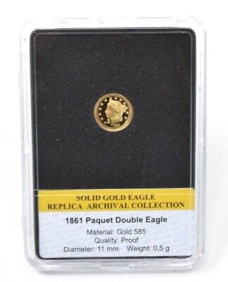 1861 PAQUET DOUBLE EAGLE Coin Solid Gold Eagle Archival Collection PROOF 14CT