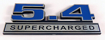 Mustang Shelby GT500 Black 5.4 Supercharged Emblem Logo with Chrome Trim Pair