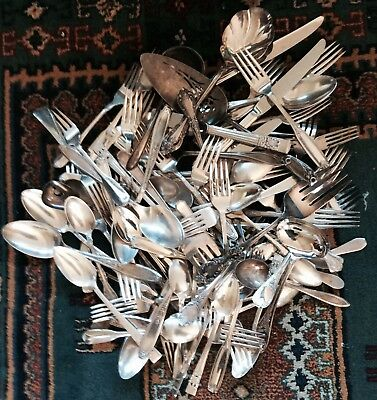 90+ Pieces Mixed Lot & Vintage SILVERPLATE Flatware Restaurants Crafts Caterin