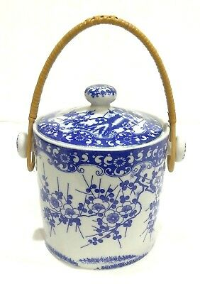 Rare Vintage Nippon Rising Sun Blue On White Cherry Blossom Porcelain Tea Caddy
