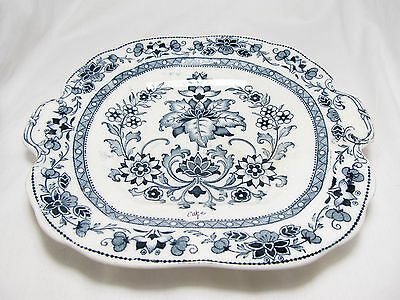 Antique Wedgwood Etruria England Mandarin Blue Square Handle Cake Plate C1