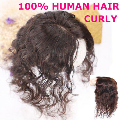 CW 15cm~50cm Long Curly Style Womens Human Hair Topper Hairpiece Toupee