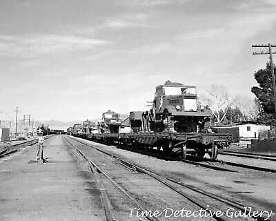 WWII Military Vehicles on Railcars, Ludlow, Calif. - 1943 - Historic Photo Print
