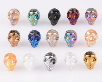 Hot 20pcs Skull Head Crystal Glass Loose Spacer Beads For Jewelry DIY 10x8x7mm