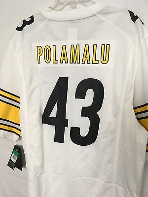 quality design 0bb62 f21e4 TROY POLAMALU #43 Pittsburgh Steelers White Jersey Nike NFL Size X-Large  New XL