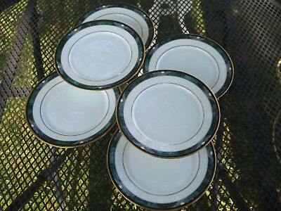 6 Lenox Green Debut Collection KELLY Bone China Bread & Butter Plates