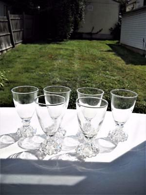 """Six Anchor Hocking Boopie Juice/Wine Stems Stand 4-1/2"""" Tall x 2-1/2"""" Across Top"""