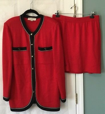 St John Collection By Marie Gray Red  Knit Embellished Jacket Skirt Set 10 12