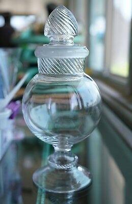 Vintage Drugstore Columbia Glass Swirl Large Apothecary Jar 13 1/2'' Tall